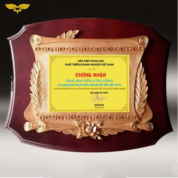 Quà tặng doanh nghiệp - kỷ niệm chương gỗ đồng 01A